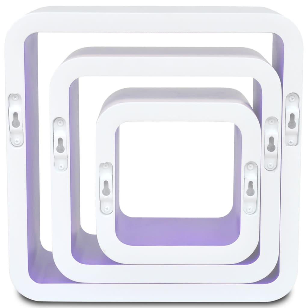 3er set mdf h ngeregal cube regal regalw rfel f b cher dvd wei lila g nstig kaufen. Black Bedroom Furniture Sets. Home Design Ideas
