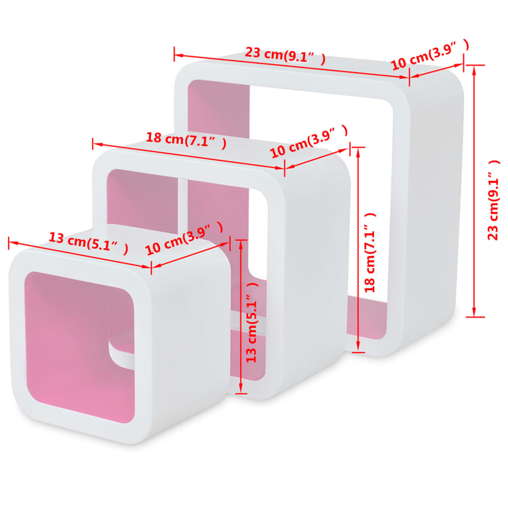 acheter 3 etag res cubes murales en mdf blanc rose pour. Black Bedroom Furniture Sets. Home Design Ideas