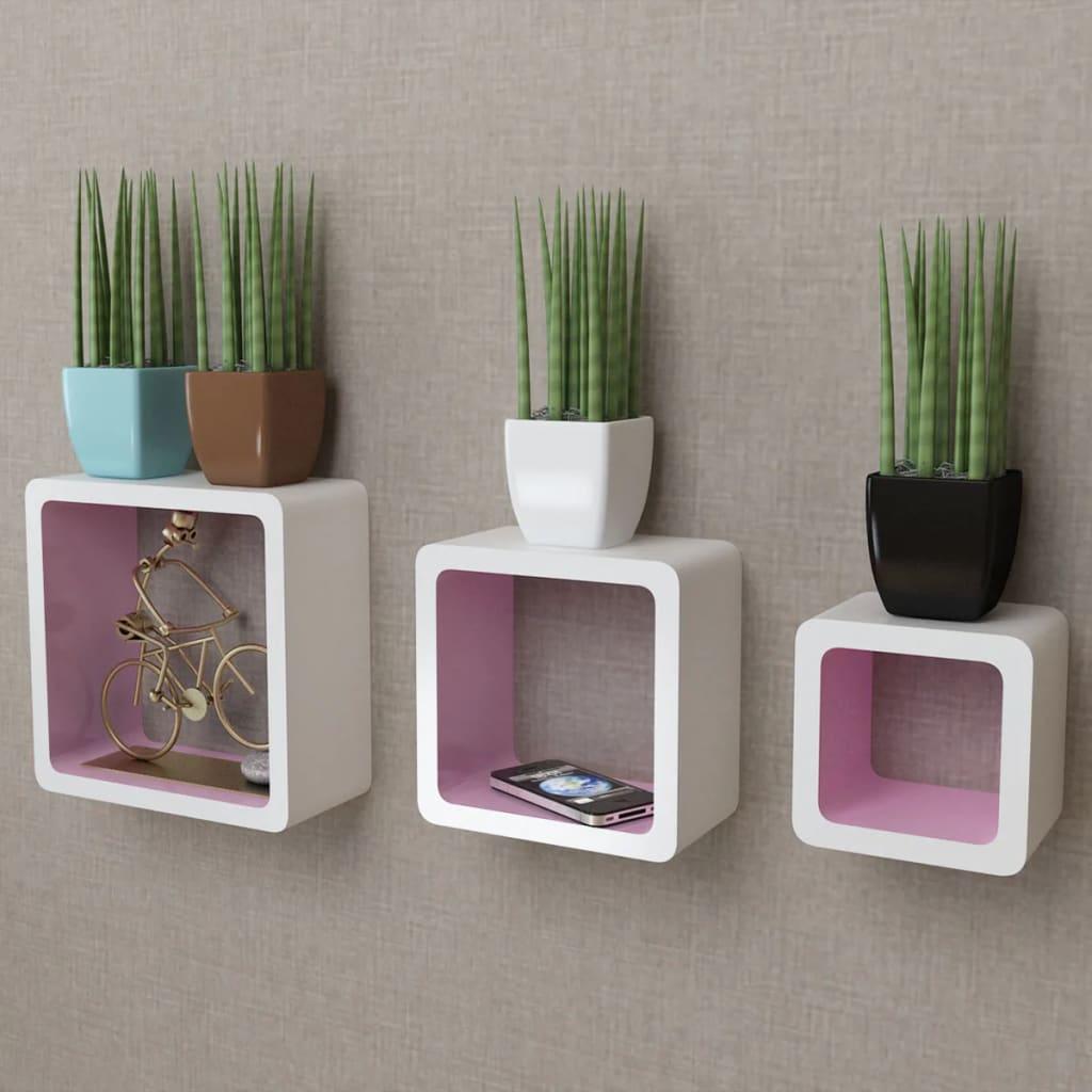 3 white pink mdf floating wall display shelf cubes book dvd storage. Black Bedroom Furniture Sets. Home Design Ideas