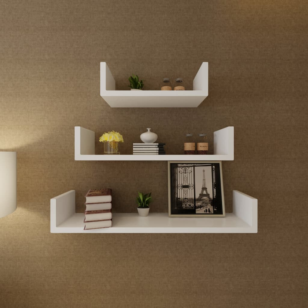 3 White MDF U-shaped Floating Wall Display