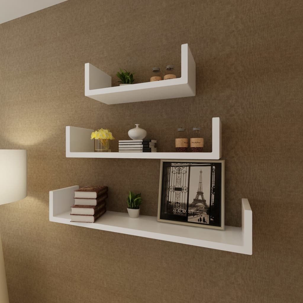 3 white mdf u shaped floating wall display shelves book. Black Bedroom Furniture Sets. Home Design Ideas