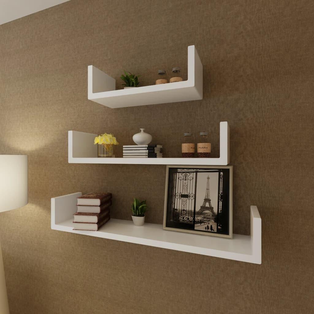 3er set mdf wandregal h ngeregal f r b cher dvd u f rmig. Black Bedroom Furniture Sets. Home Design Ideas