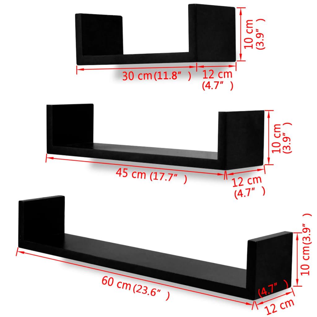vidaXL-3-estanterias-negras-forma-de-034-U-034-de-material-MDF-suspendidas-libros-DVD
