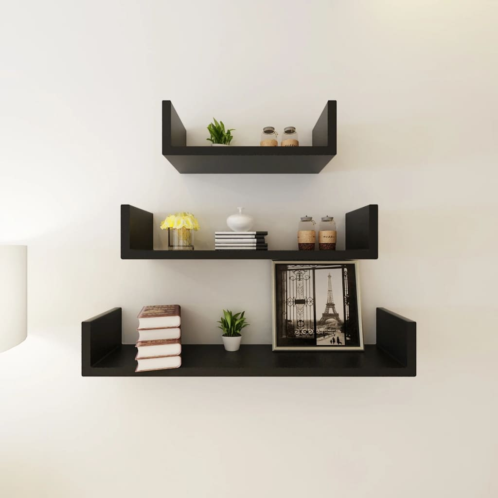 acheter 3 etag res murales en forme de u et en mdf noir pour dvd livres pas cher. Black Bedroom Furniture Sets. Home Design Ideas