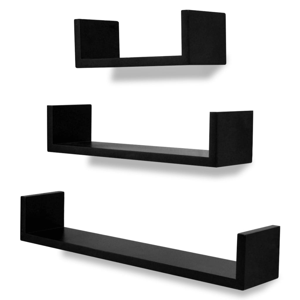 3 black mdf u shaped floating wall display shelves book dvd storage. Black Bedroom Furniture Sets. Home Design Ideas