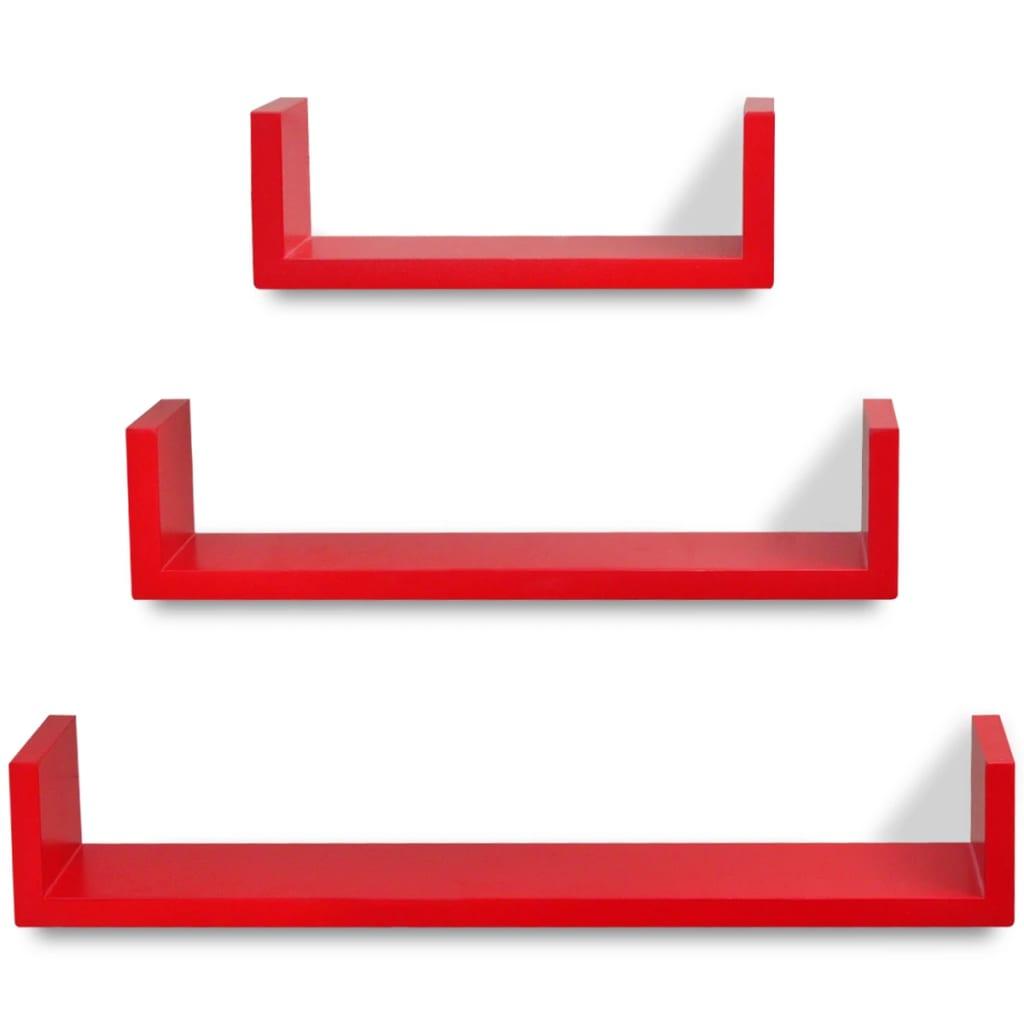 3er set mdf wandregal h ngeregal f r b cher dvd u f rmig rot g nstig kaufen. Black Bedroom Furniture Sets. Home Design Ideas