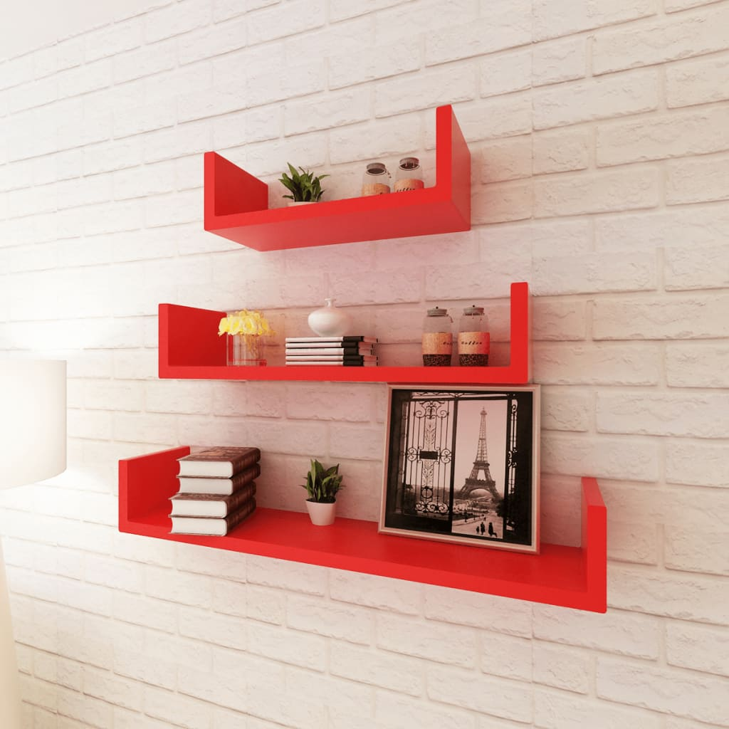 vidaxl-3-red-mdf-u-shaped-floating-wall-display-shelves-bookdvd-storage