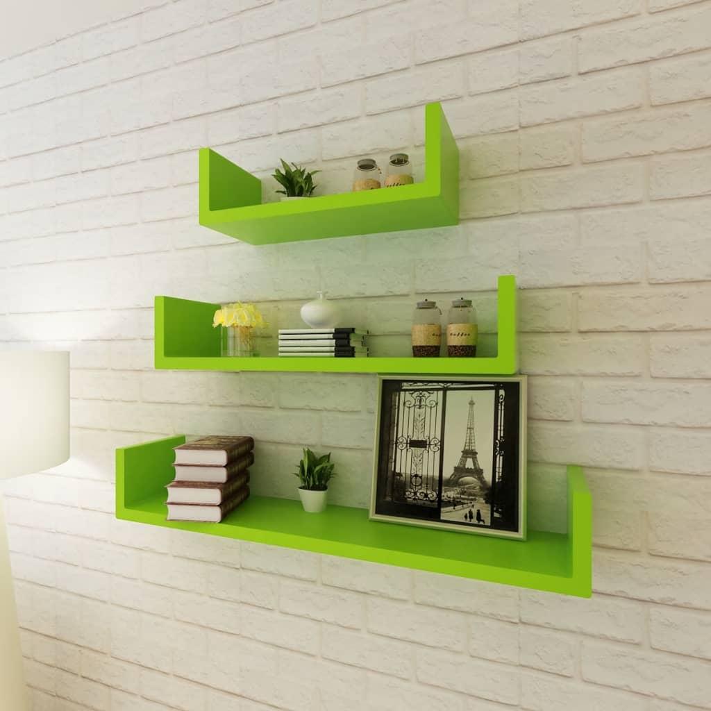acheter 3 etag res murales en forme de u et en mdf vert pour dvd livres pas cher. Black Bedroom Furniture Sets. Home Design Ideas