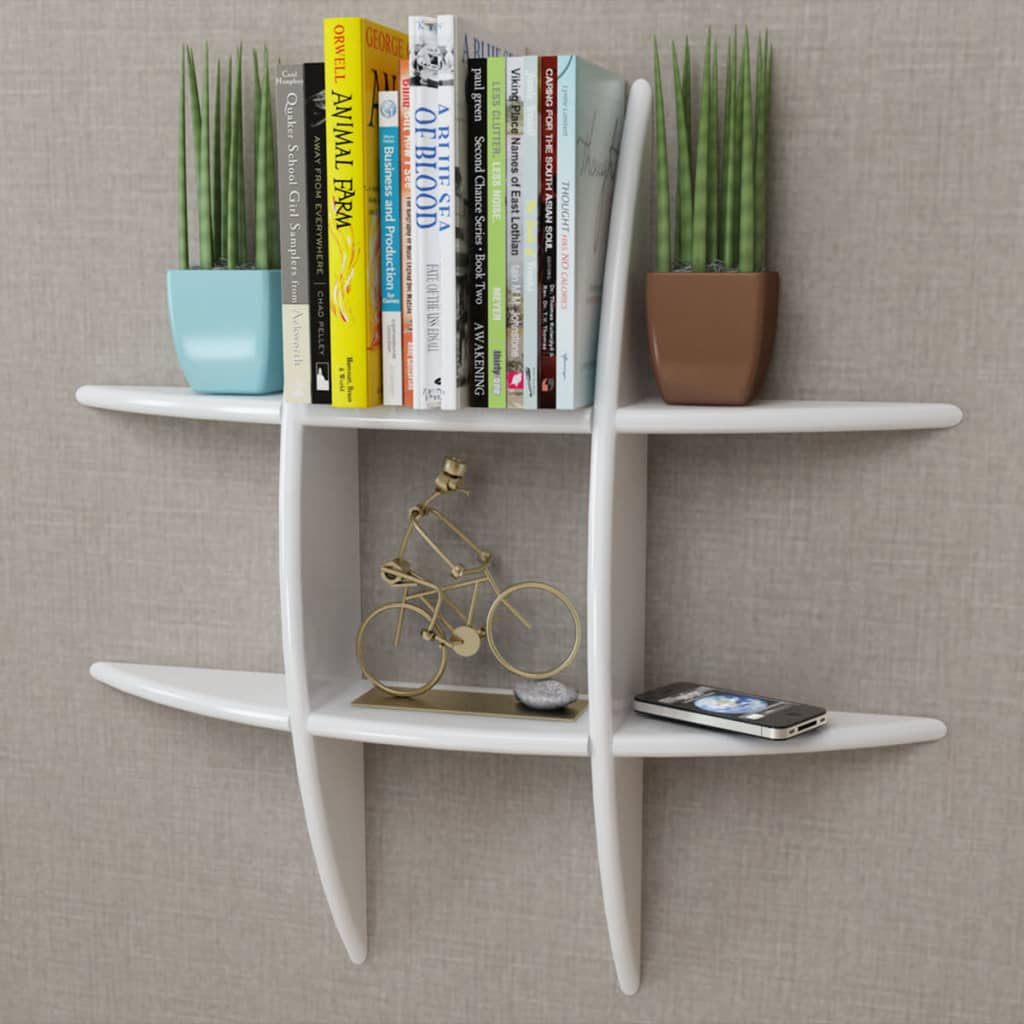 Image is loading MDF-Floating-Cubes-Wall-Storage-Book-CD-Display- & MDF Floating Cubes Wall Storage Book CD Display Shelf White | eBay