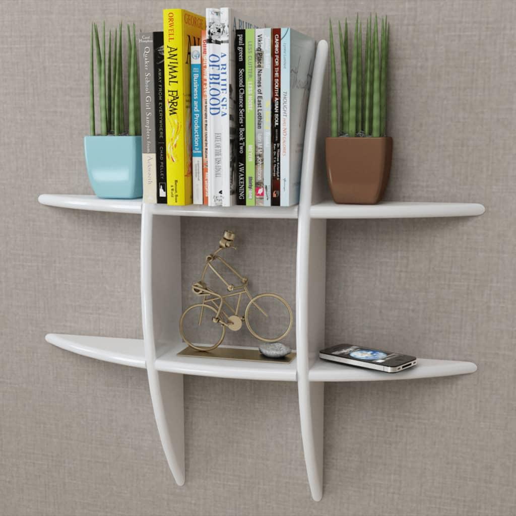 white mdf floating wall display shelf book dvd storage. Black Bedroom Furniture Sets. Home Design Ideas