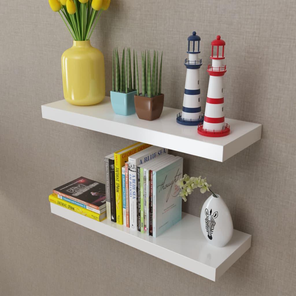 Vidaxl 2pc White Floating Wall Shelf Wall Mount Storage Display