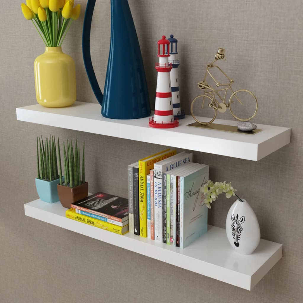 2 White Mdf Floating Wall Display Shelves Book Dvd Storage