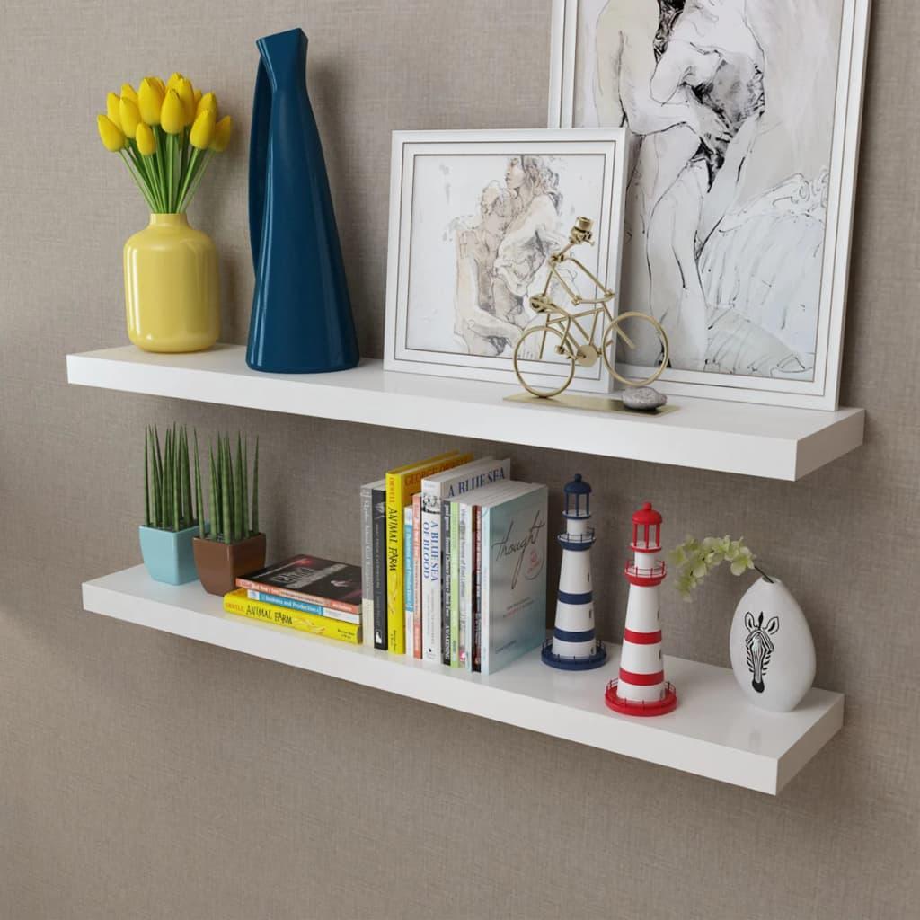 la boutique en ligne 2 etag res murales en mdf blanc pour dvd livres. Black Bedroom Furniture Sets. Home Design Ideas