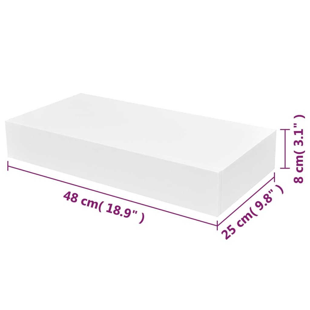 Estanter a suspendida tablero mdf blanco con un caj n para libros dvds - Tablero blanco ...