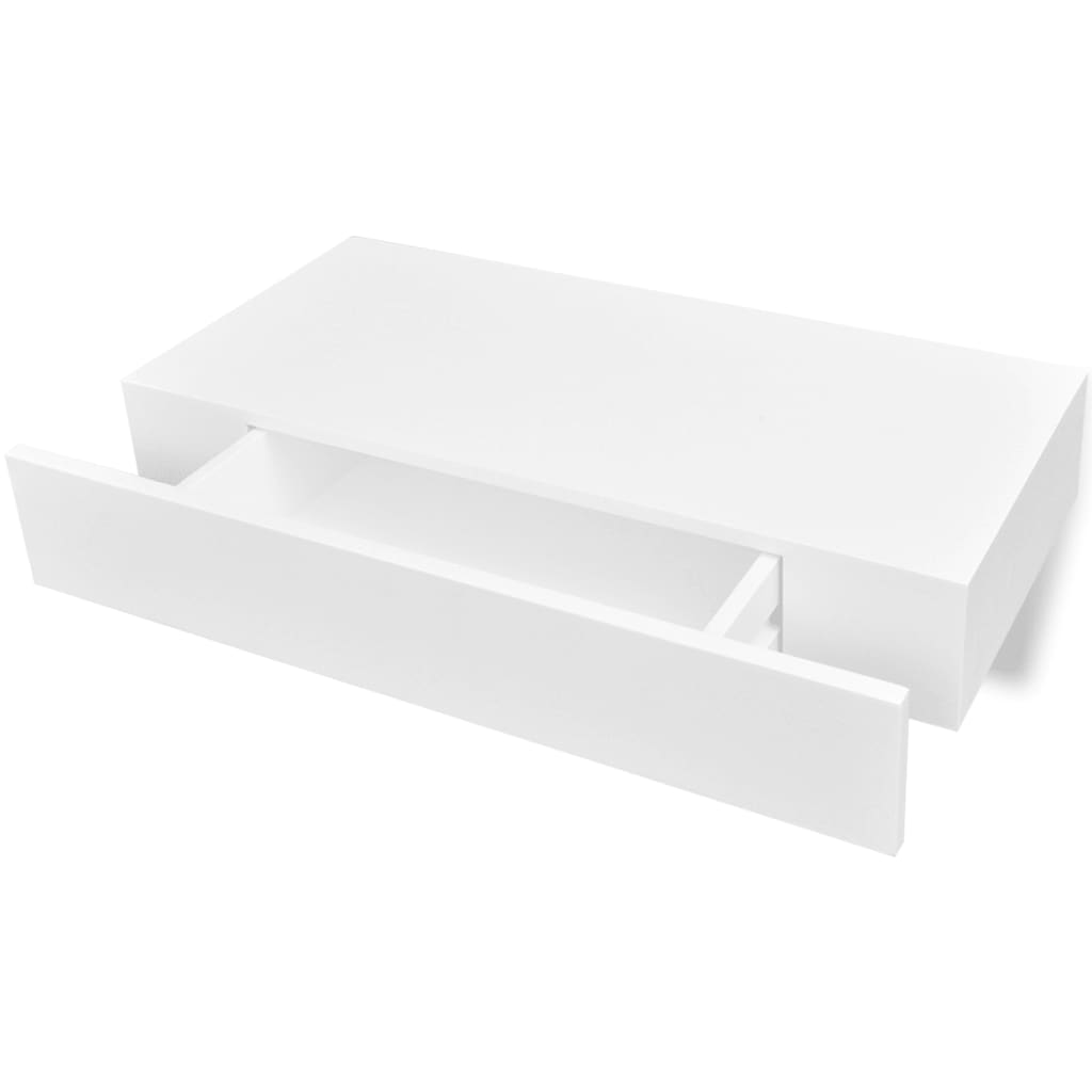 white mdf floating wall display shelf 1 drawer book dvd. Black Bedroom Furniture Sets. Home Design Ideas