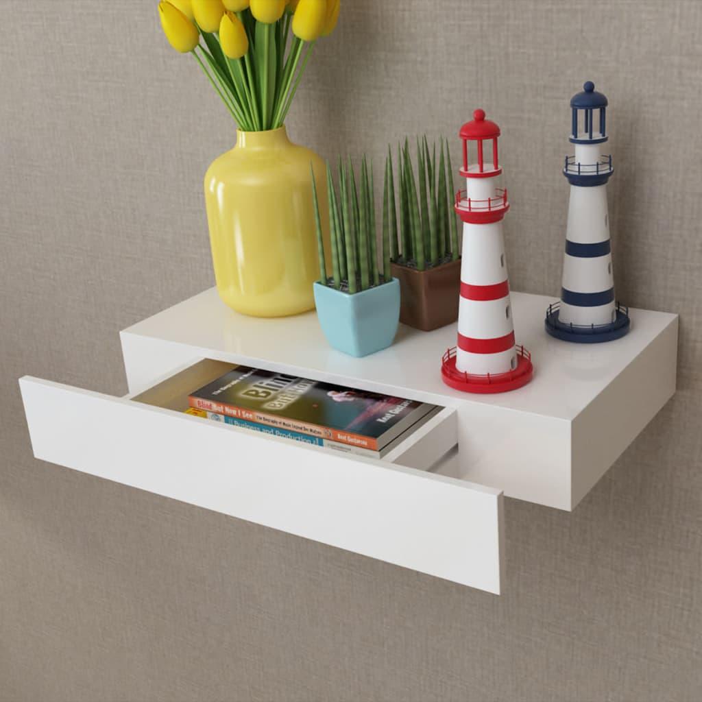 Etag Re Murale Blanc En Mdf Avec 1 Tiroir Stockage Rangement Pour  # Tiroir Rangement Dvd