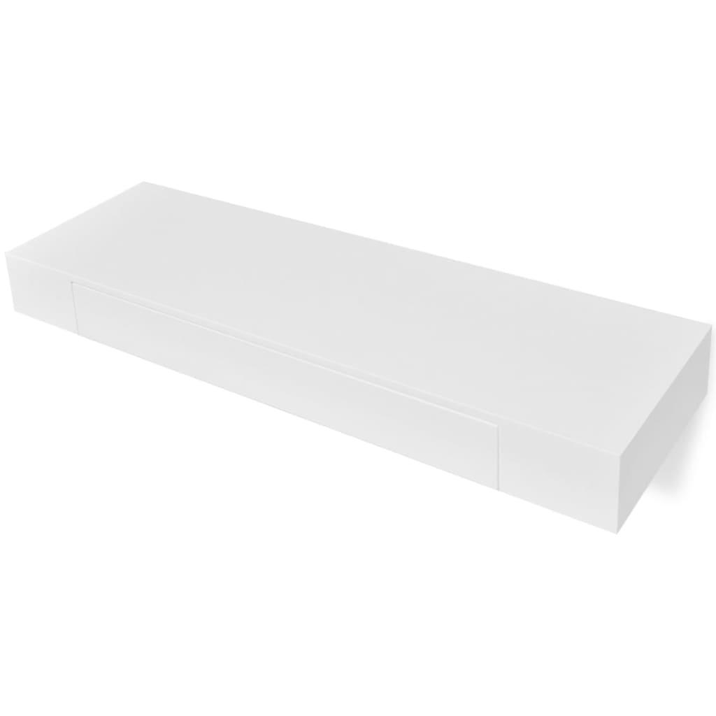 acheter etag re murale en mdf blanc avec 1 tiroir pour dvd livres pas cher. Black Bedroom Furniture Sets. Home Design Ideas