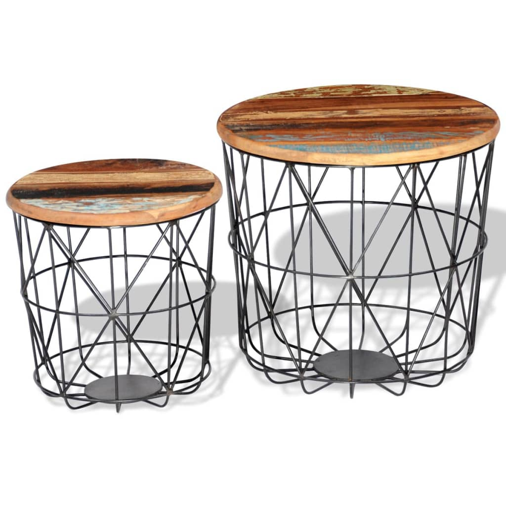 2 x kaffeetisch wohnzimmertisch aus recyceltem holz rund 35 cm 45 cm g nstig kaufen. Black Bedroom Furniture Sets. Home Design Ideas