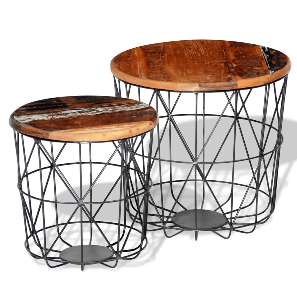 2 reclaimed wood coffee tables round 35 cm 45 cm. Black Bedroom Furniture Sets. Home Design Ideas