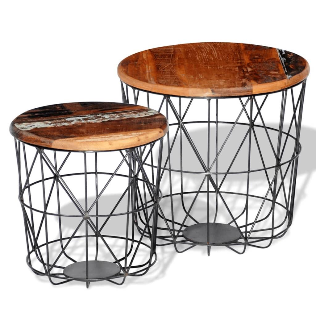 vidaXL Zestaw 2 okrągłych stolików z drewna odzyskanego, 35 i 45 cm