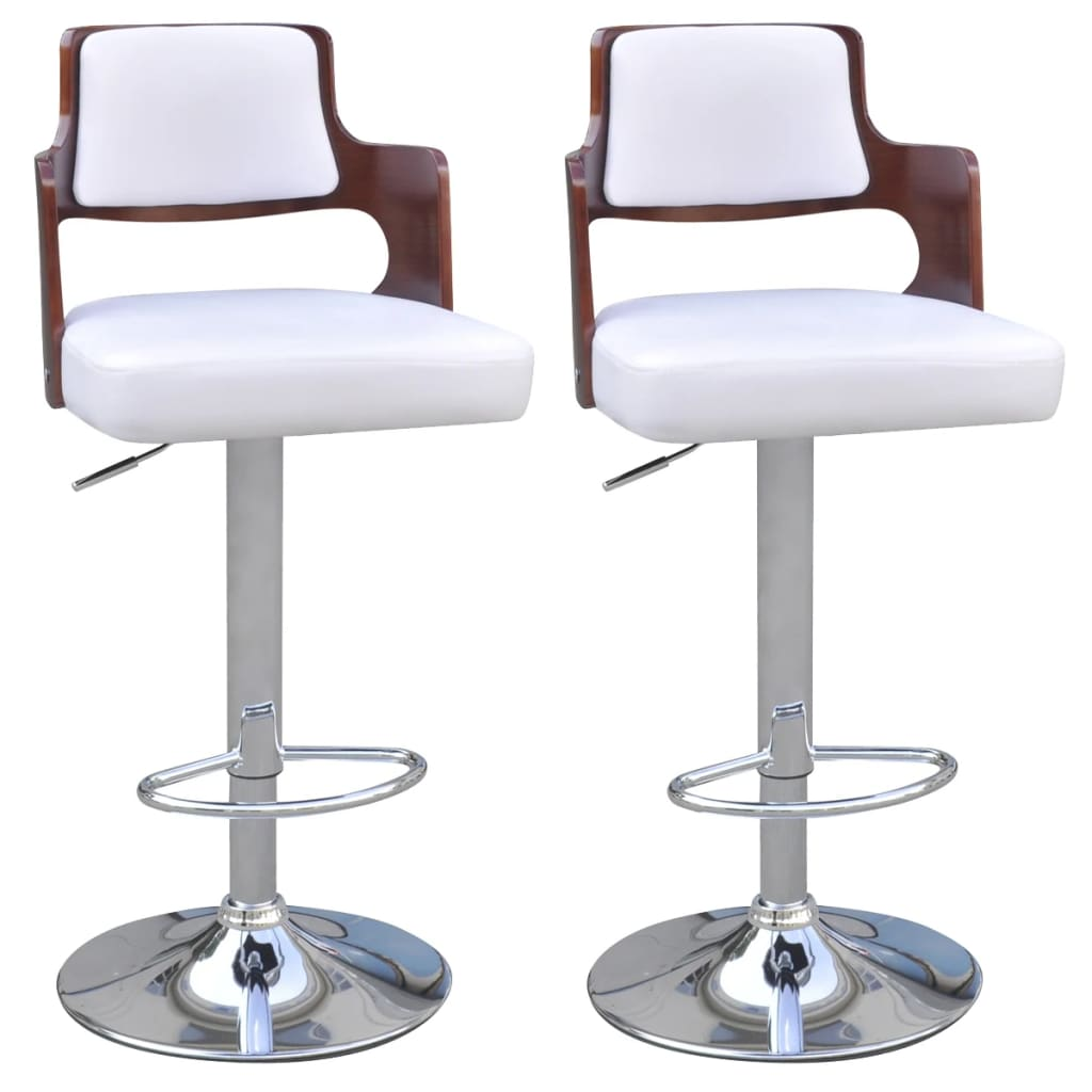 vidaXL 2 Artificial Leather Bar Stools with Padded Square Seat White