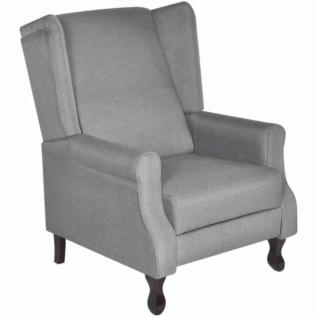vidaXL Fauteuil tv-stoel verstelbaar stof grijs