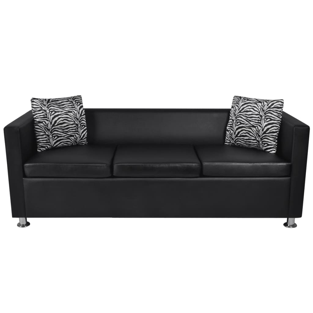 Black Artificial Leather 3 Seater Sofa Www Vidaxl Com Au