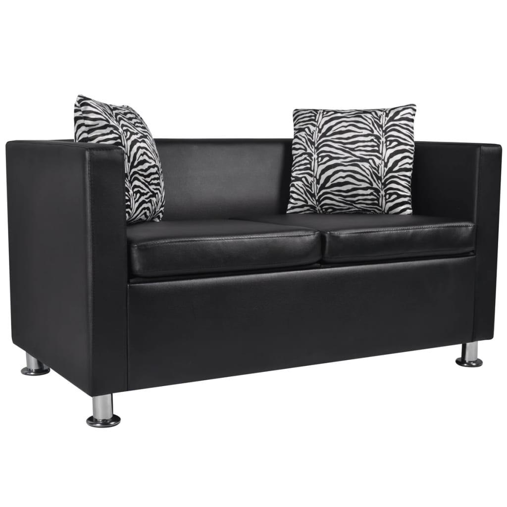 vidaXL Műbőr kétszemélyes kanapé fekete