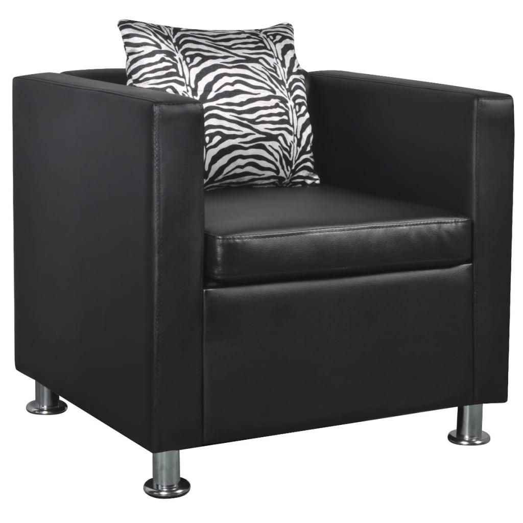 vidaXL Műbőr kocka fotel fekete
