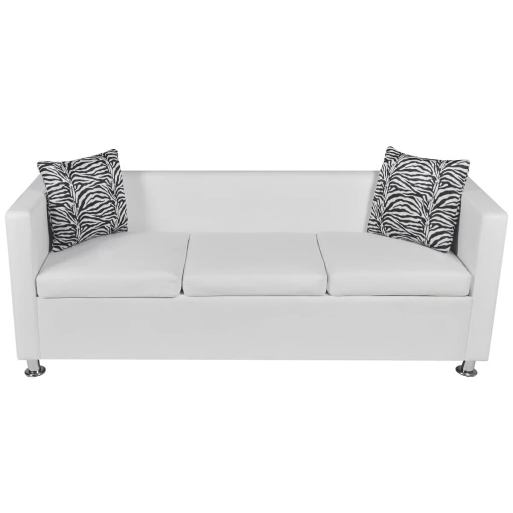 Divano in pelle bianca artificiale 3 posti - Dimensione divano 3 posti ...