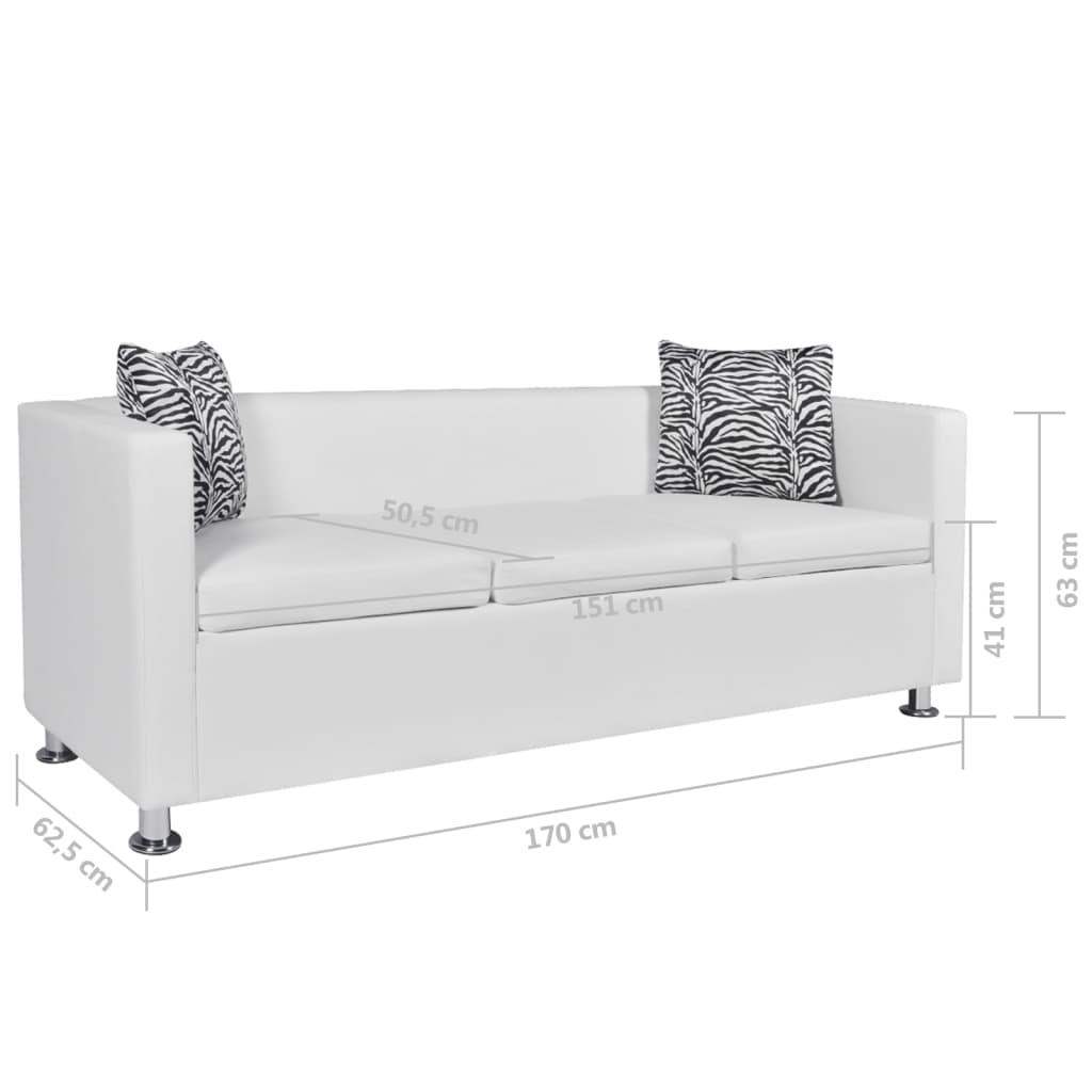 Vienna Leather Three Seater Sofa White: White Artificial Leather 3-Seater Sofa
