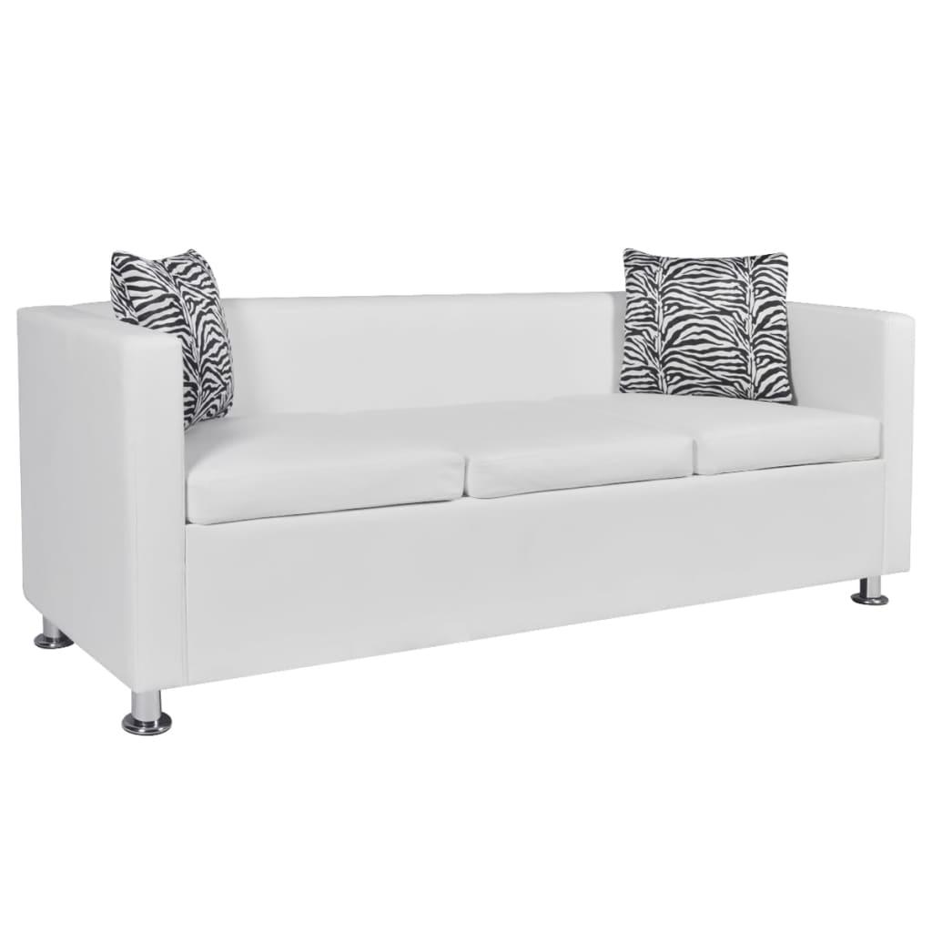 vidaXL Műbőr háromszemélyes kanapé fehér
