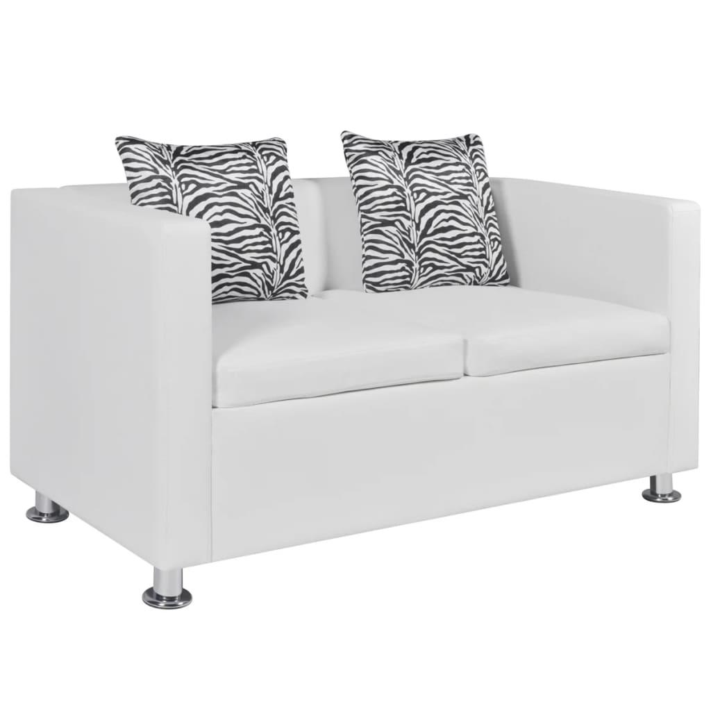 Sof blanco de cuero artificial 2 plazas tienda online - Sofa cuero blanco ...
