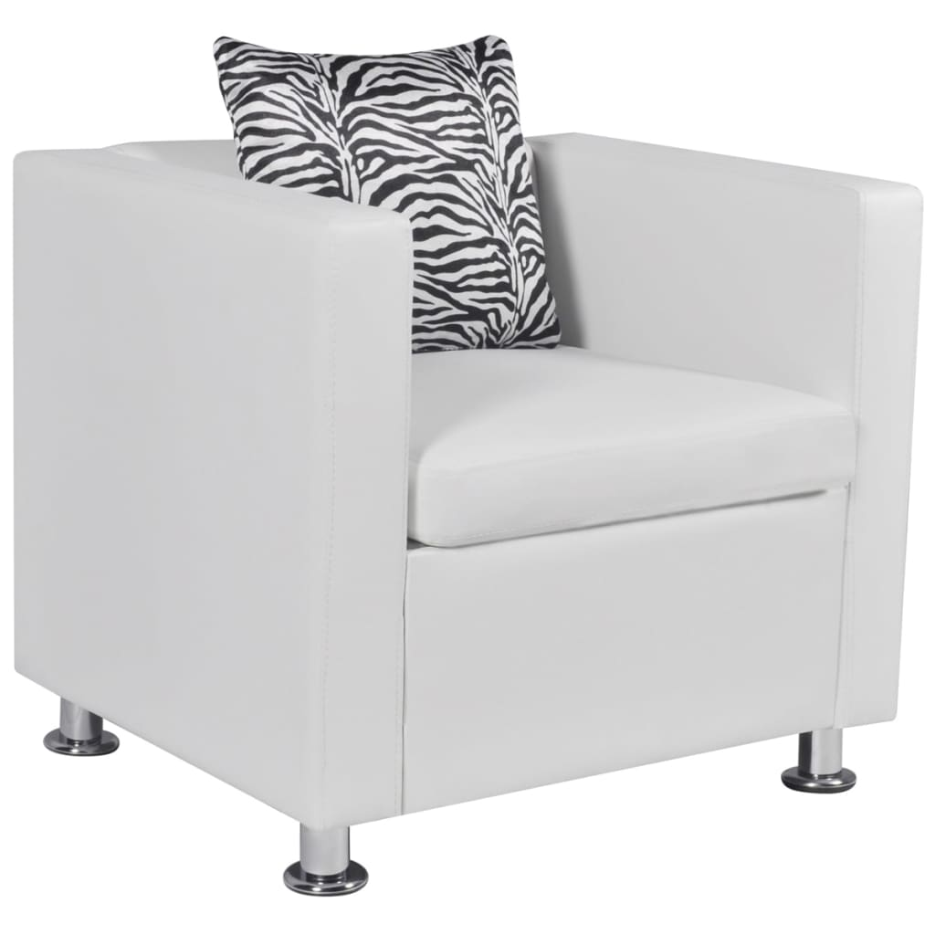 vidaXL Műbőr kocka fotel fehér