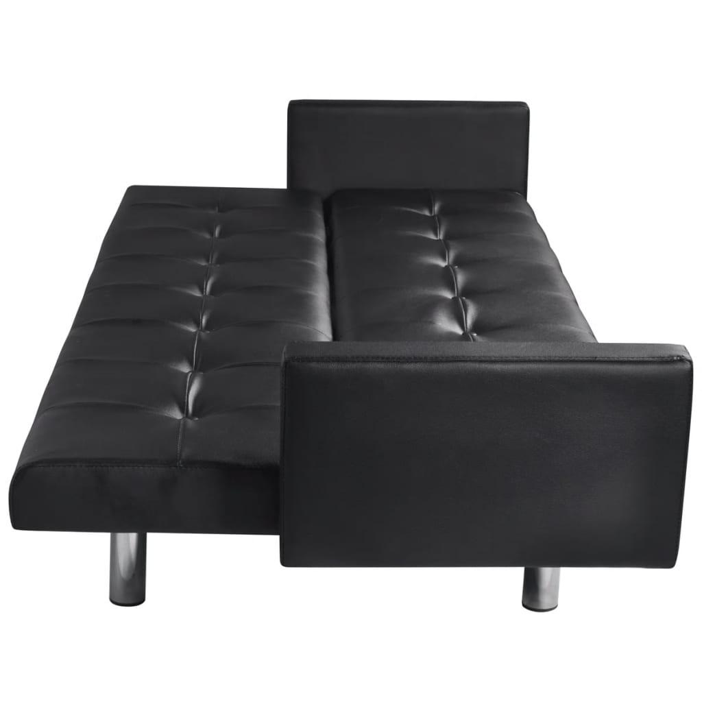 la boutique en ligne canap lit en cuir artificiel noir. Black Bedroom Furniture Sets. Home Design Ideas