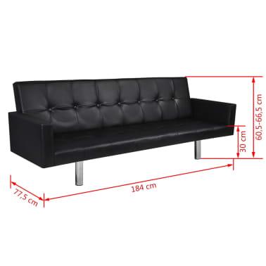 Cama sofá couro artificial com braço, preto[6/6]