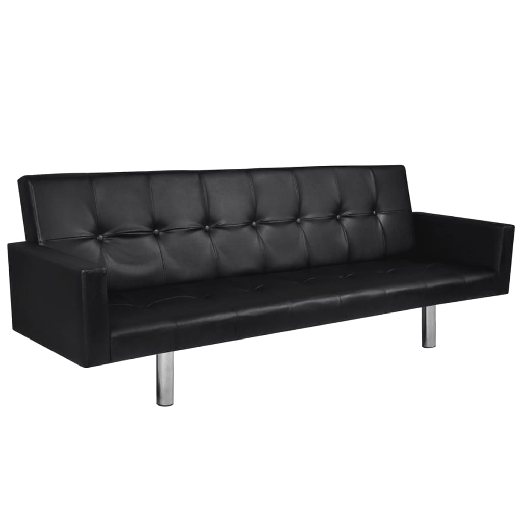 la boutique en ligne canap lit en cuir artificiel noir avec accoudoirs. Black Bedroom Furniture Sets. Home Design Ideas