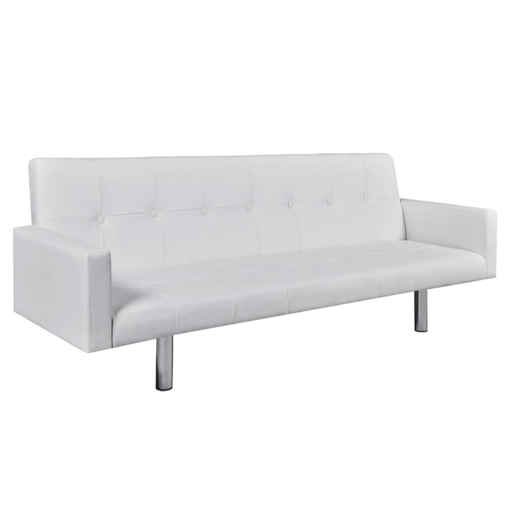 vidaXL Slaapbank met armleuning kunstleer wit