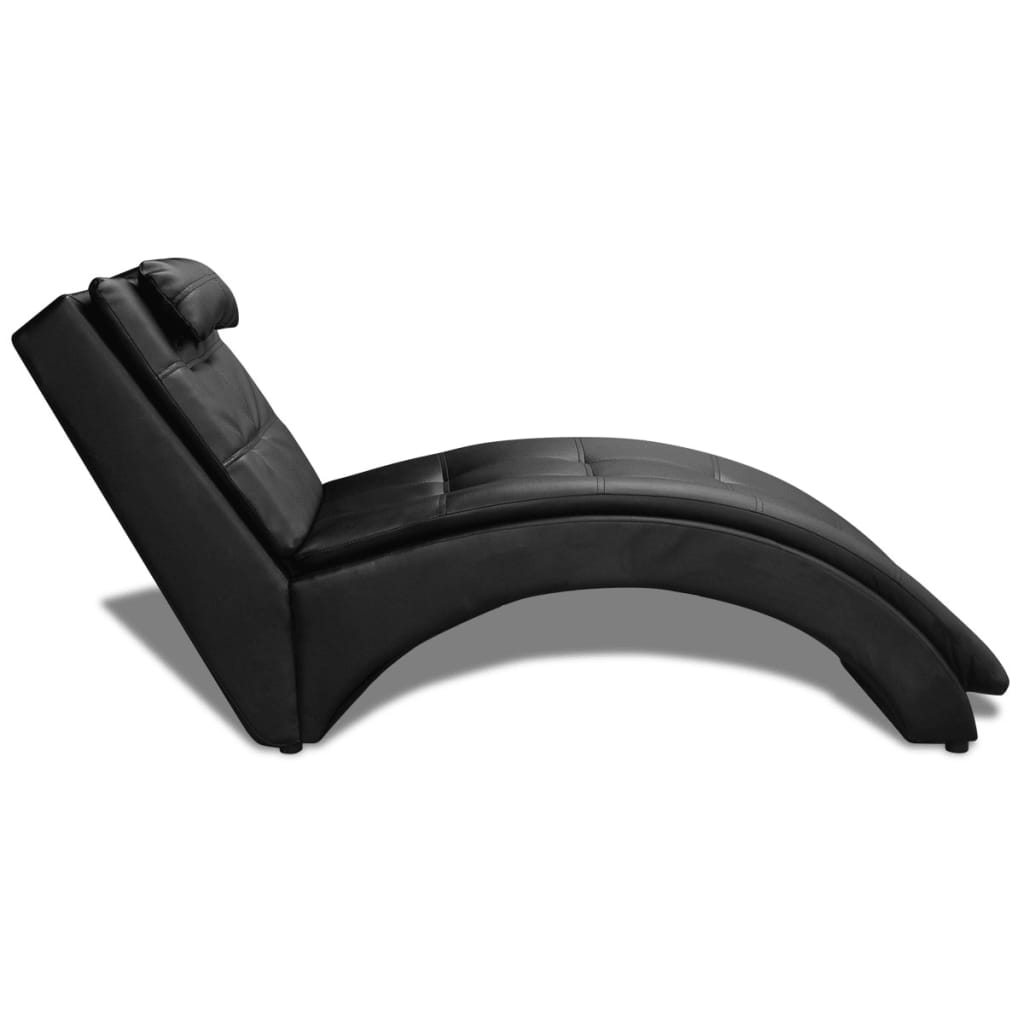 acheter chaise longue en cuir artificiel noir avec coussin. Black Bedroom Furniture Sets. Home Design Ideas