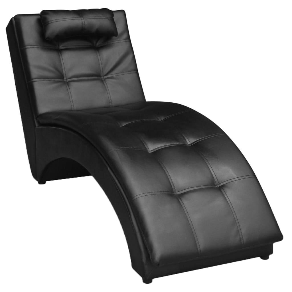 vidaXL Műbőr hosszú fotel/ szék/ napozószék párnával fekete