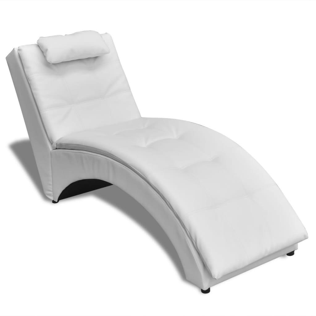 La boutique en ligne chaise longue en cuir artificiel blanc avec coussin vi - Chaise en cuir blanc ...