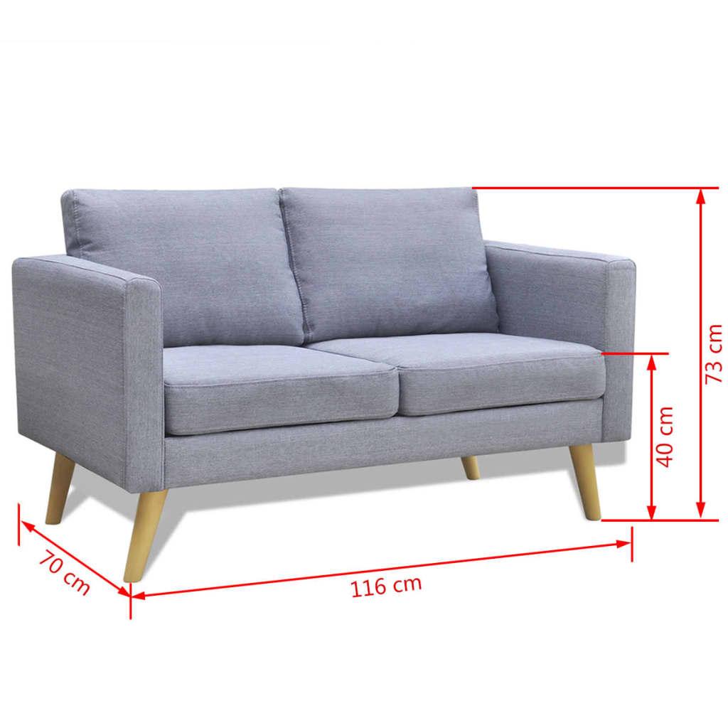 Acheter canap 2 places en tissu gris clair pas cher - Canape tissus 2 places ...