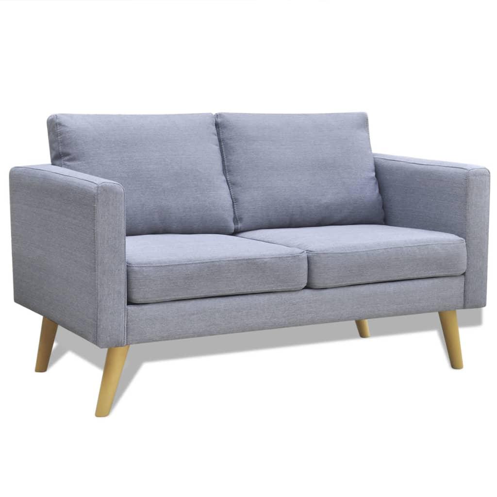 vidaXL 2 férőhelyes szövet kanapé világos szürke
