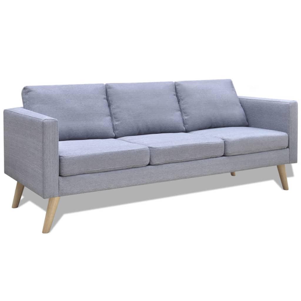 vidaXL Jasno szara 3 osobowa, materiałowa sofa