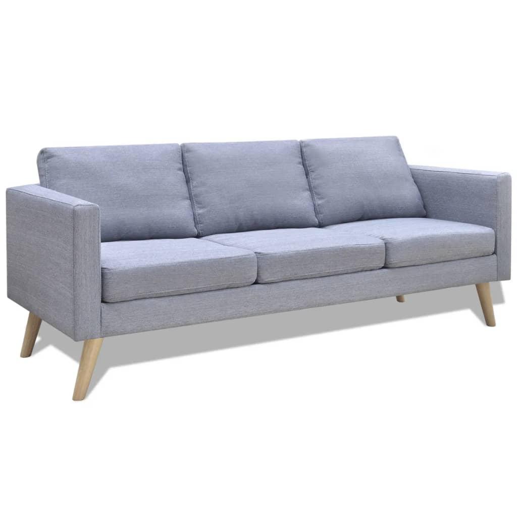 vidaXL világosszürke 3 személyes szövet kanapé