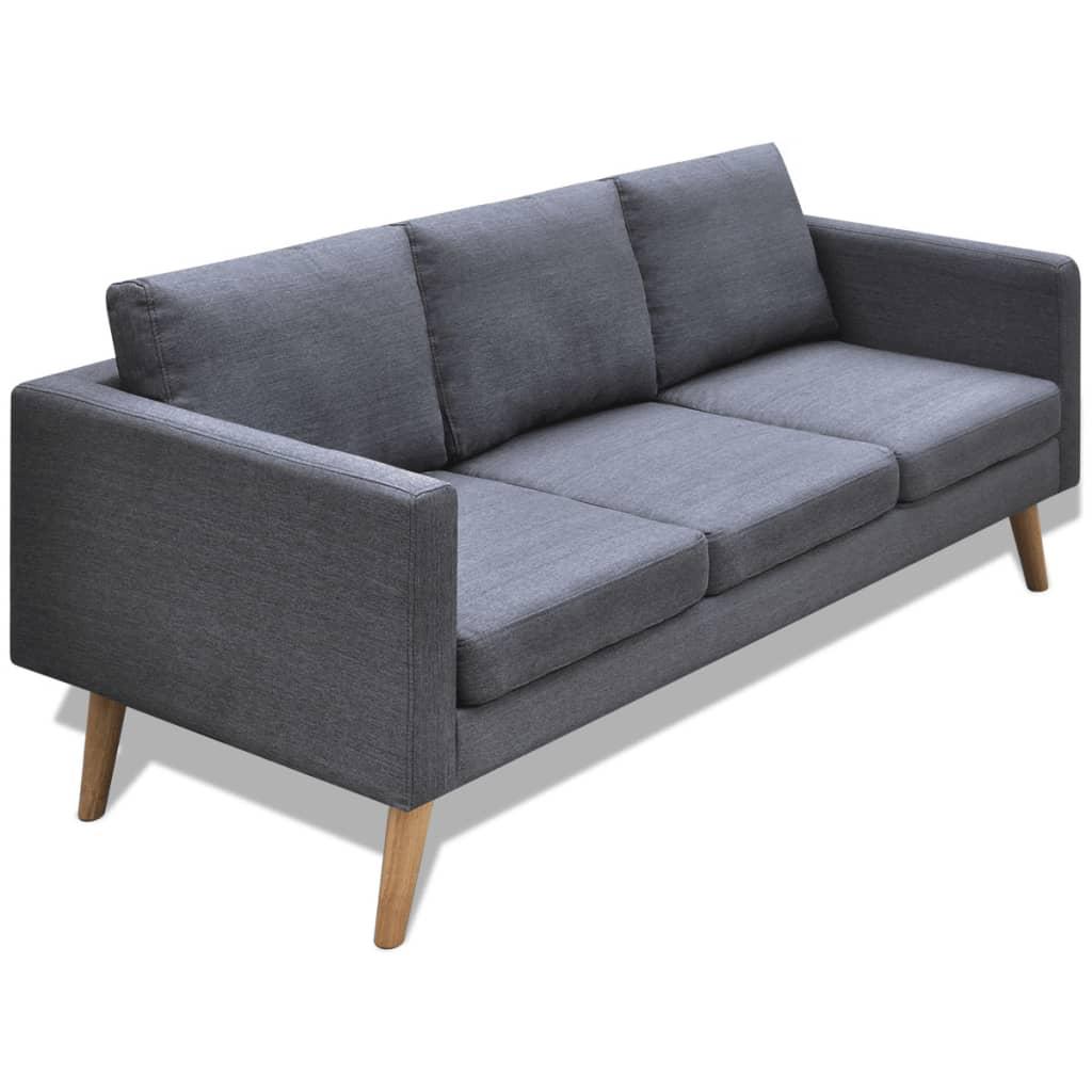 Sof gris oscuro 3 plazas de tela for Sofa 80 cm tief