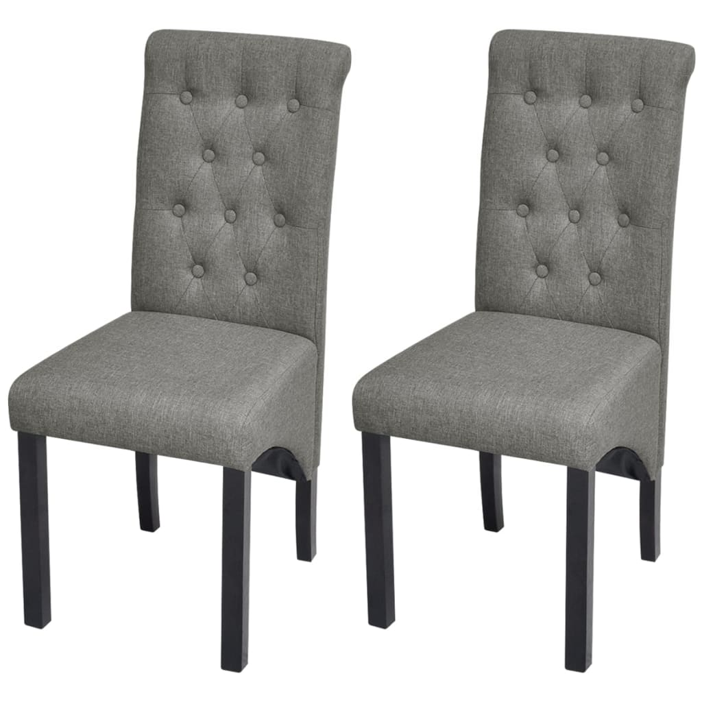 2 Dining Chairs Fabric Upholstery Dark Grey High Back