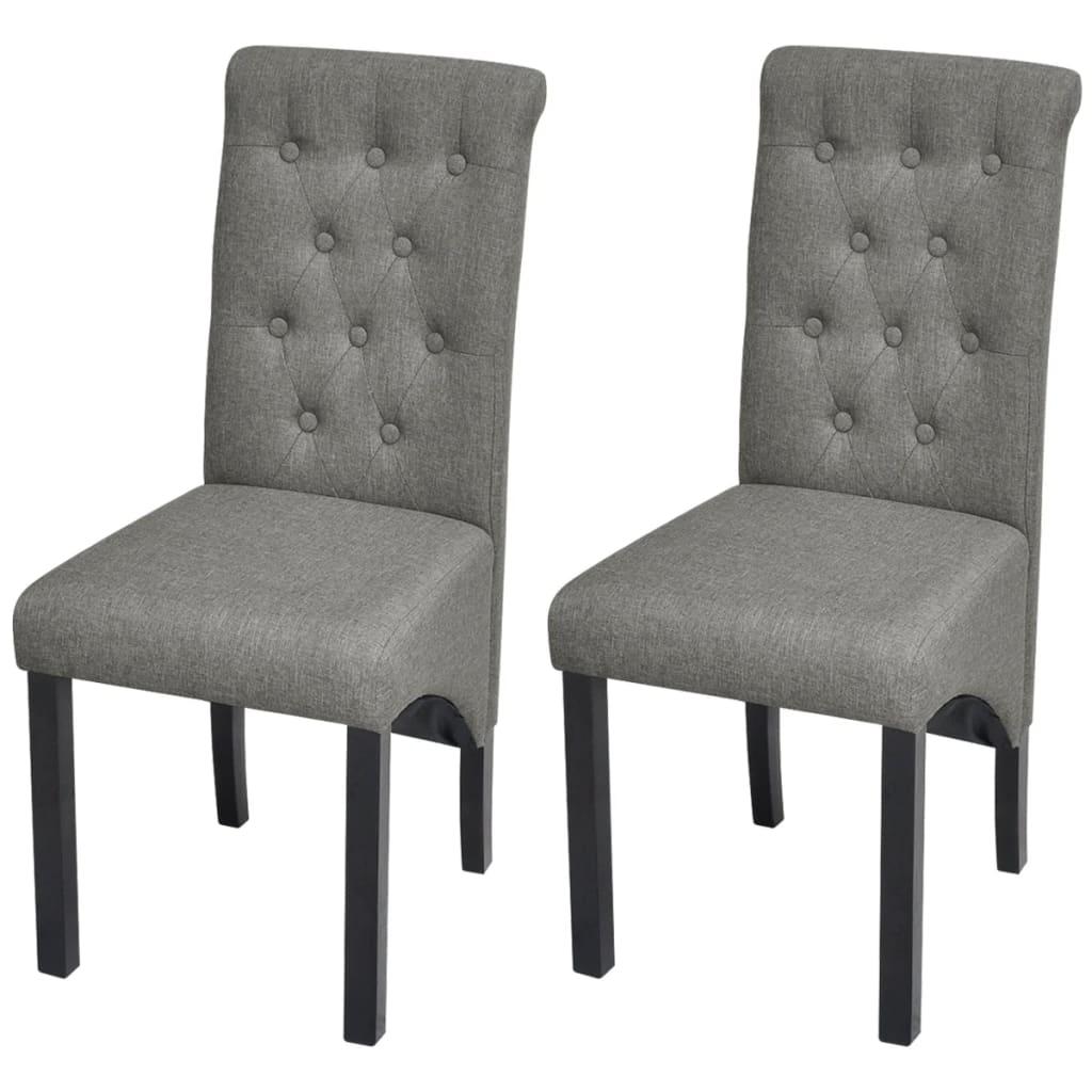 2 Esszimmerstühle Stoffbezug Dunkelgrau Hohe Rückenlehne