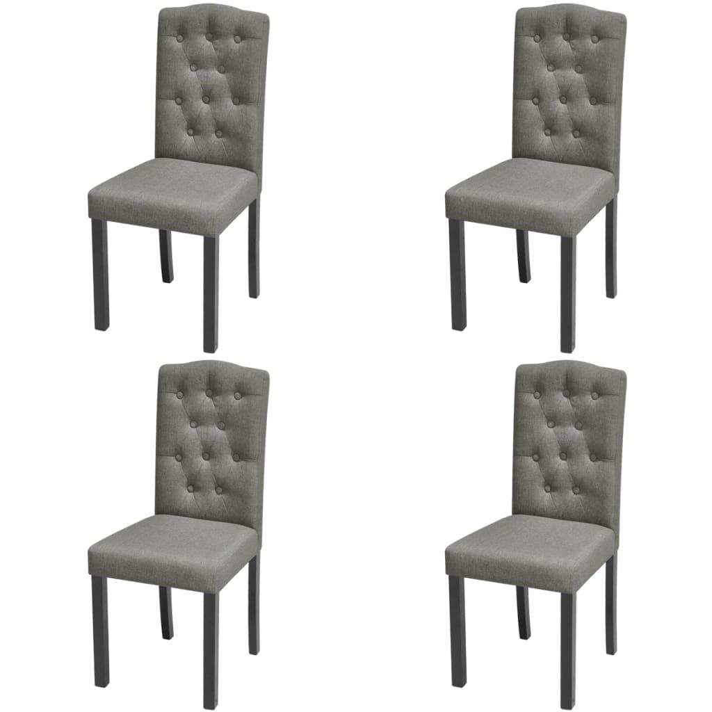 4 sillas de comedor con tapizado de tela gris oscuro for Telas para tapizar sillas comedor