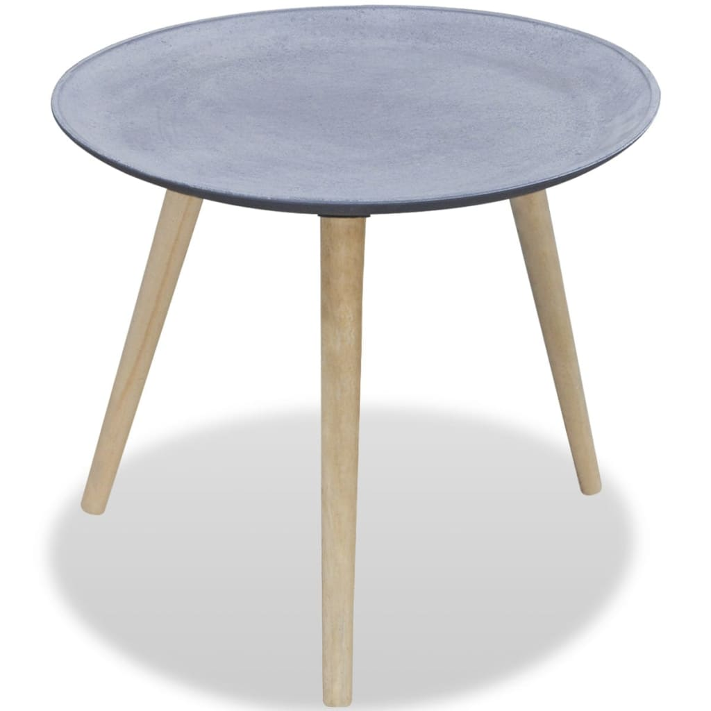Round Side Table Coffee Table Gray Concrete Look Vidaxl Com